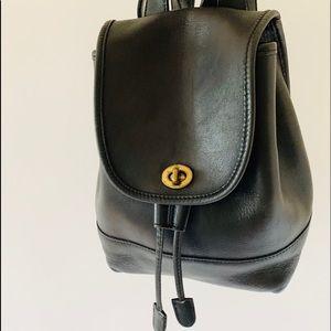 VTG late 80's-90's Mini Black Leather Backpack